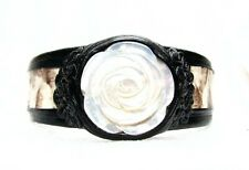Adjustable White Pythone Leather Cuff Bracelet-Carved Shell Pearl Rose