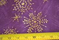 By 1/2 Yd, Metallic-Gold Snowflakes on Purples Quilting Cotton, N431
