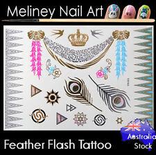 Feather Flash Tattoos Gold Metallic Body Art Fashion Jewellery