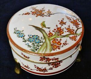 Beautiful Japanese Satsuma Kazan 加山 Porcelain Box Taisho c.1912