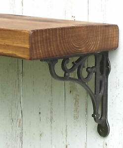 Rustic Solid Wood Mantel Floating Shelf With Cast Iron Wall/Shelf Brackets