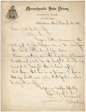1887 Charlestown, Mass. State Prison Letter Signed by Warden (Ex-Civil War Capt)