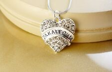 PARALEGAL CLEAR CRYSTAL HEART SILVER NECKLACE- gift jewelry