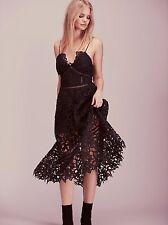 Free People South Of The Equator Midi Maxi Lace Dress Black Size 4