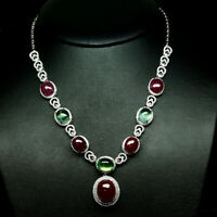 "NATURAL RED RUBY, GREEN PREHNITE & WHITE CZ NECKLACE 18"" 925 STERLING SILVER"