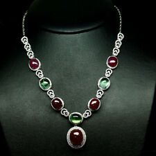 """NATURAL RED RUBY, GREEN PREHNITE & WHITE CZ NECKLACE 18"""" 925 STERLING SILVER"""