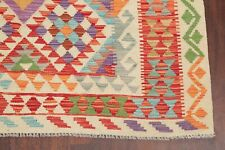 Geometric Pastel Color South-Western Kilim Turkish Area Rug Flat-Woven Wool 5x8