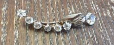 w Dangle Stone Pin? Jewelry Part Vintage Silver Clear Rhinstone Curved Vine