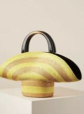 NWT Eugenia Kim Belle Yellow Ochre Upside Down Hat Purse Bag Woven