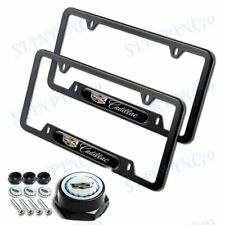 NEW 2PCS For CADILLAC Black Stainless Steel License Plate Frame w/ Black Cap Set