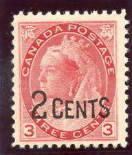 Canada 1899 QV 2c on 3c rose-carmine superb MNH. SG 172. Sc 88.