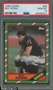 1986 Topps Football #68 Bill Pickel Raiders PSA 10 GEM MINT