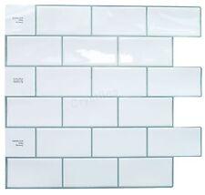 Crystiles Peel and Stick Self-Adhesive Vinyl Wall Tiles Subway White Item# 91...