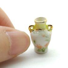 Vase Dollhouse Miniature Ceramic Flower Yellow Gold Trim - DM124