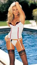 White with Black Polka Dots Bustier & Thong Size 36-Large Shirley 59014 & 51058
