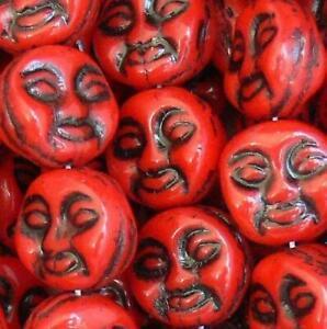 Moon Face Beads Czech Glass Beads 20 Pcs Ur Pick