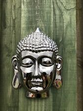Buddha Head Decorative Wall Plaque Shiny Silver Finish New & Boxed 22cm