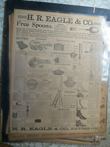 Advertising Newspaper 1895 SILVER TEA SPOON DRUGS COFFEE CIGARS PIPES TOBACCO