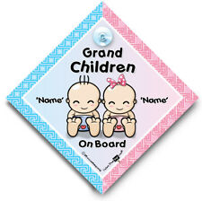 Grandchildren On Board Sign, Baby On Board Car Sign Personalised Baby On Board