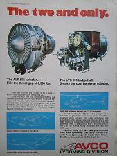4/1974 PUB AVCO LYCOMING ALF 502 TURBOFAN LTS 101 TURBOSHAFT ORIGINAL AD