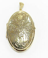 9ct  Hallmarked Yellow Gold ' Pre - Owned '  Oval Patterned Locket.