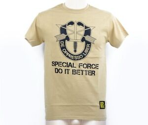 US Army SF Special Forces DO IT BETTER DE OPPRESSO LIBER Shirt tshirt Sand Gr XL