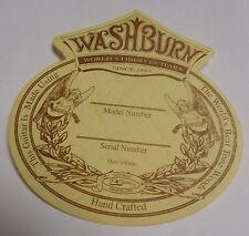 GENUINE WASHBURN WORLDS FINEST USA SHOP SOUND HOLE MODEL SERIAL NUMBER LABEL