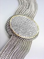 NEW Designer Silver Cable Gold Pave CZ Crystals Oval Medallion Magnetic Bracelet