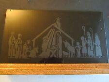 "Vtg Etched ON SMOKE Glass Nativity Creche Oak HOLDER 18"" W Jesus Mary Joseph st"