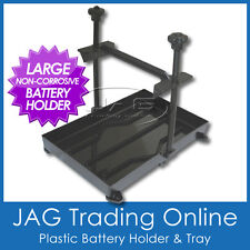 LARGE BATTERY TRAY - PLASTIC TIE HOLD DOWN STABILISER - Boat/Caravan/4x4/Marine
