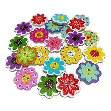40 20mm WOODEN BUTTONS - FLOWER SHAPE - MIXED DESIGNS  - CRAFT - SEW - SCRAPBOOK