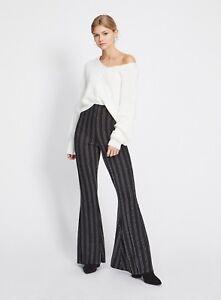 Miss Selfridge Black Metallic Stripe Kickflare Trousers BNWT Free P&P all sizes