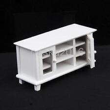 Doll House Miniature Mini Furniture Wooden TV Cabinet White 1/12th Scale