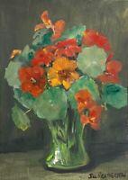 Print of Original painting art Vase sunflowers floral Impressionism shabby chic