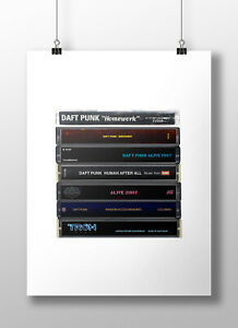 Daft Punk Poster: Cassette Print, Original Daft Punk Albums, Gift, Art