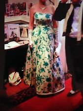 RARE Tea Rose Pattern 1940s piena lunghezza Dress Vintage Donna Taglia 10