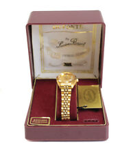 Lucien Piccard Dufonte Gold Tone Diamond Quartz Watch Gold Dial, Magnified Date