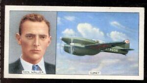 Tobacco Card, Carreras, FAMOUS AIRMEN & AIRWOMEN, 1936,Kenneth Fraser Waller,#35