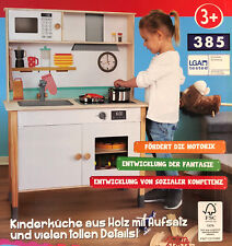 Holz Kinderküche Spielküche höhenverstellbar inkl. Zubehör Kochtopf Pfanne Neu