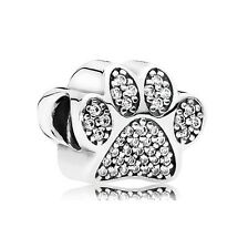 S925 Sterling Silver EURO Sparkling Paw Print Cat Dog Charm by Pandora's Angels