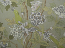 "GP & J BAKER CURTAIN FABRIC DESIGN ""Hydrangea Bird"" 12 METRES MAUVE LIME & STONE"