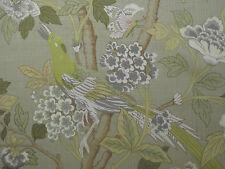 "GP & J Baker cortina tela diseño ""Hydrangea pájaro"" 12 metros Malva Lime & Stone"