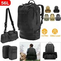 4-in-1 55L Outdoor Military Molle Tactical Backpack Rucksack Camping Bag Travel