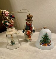 Three Vintage Christmas Tree Ornaments Bells And Snowmen