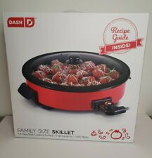 """DASH RAPID HEAT 14"""" FAMILY SIZE ELECTRIC SKILLET (RED) NON-STICK BRAND NEW"""