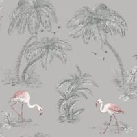 HOLDEN FLAMINGO LAKE WALLPAPER - GREY 12381 - FEATURE WALL PALM TREES NEW