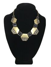Ann Taylor Loft Geometric Rhinestone And Goldtone Necklace
