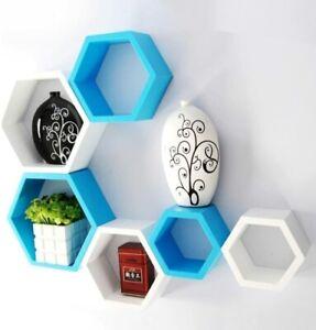 Hexagon wall shelf set of 6 hexagon wall shelf(Sky Blue & White)