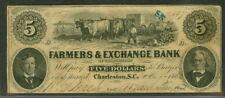 SOUTH CAROLINA - $5.00 Farmers & Exchange Bank Charleston, Oxen red reverse