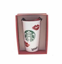 Starbucks Red Lips XOXO Art Kiss Love Print Ceramic Tumbler Traveler Mug 12oz